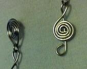 Treble Clef Wire Stud Earrings