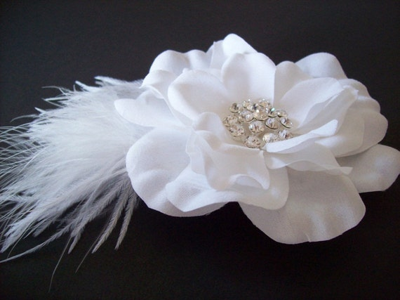 BRIDAL HAIR ACCESSORY - Pure White Bridal Hair Piece with Marabou, Ostrich Feathers, Rhinestones