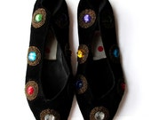 80s Black Velvet Jewel Shoes Size 6