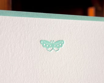 Flat Card Set with Letterpress Butterfly