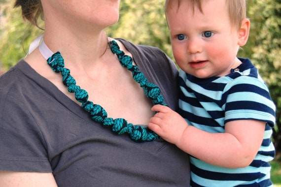 Nursing or Teething Necklace Black and Teal Adjustable - Ready-To-Ship
