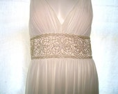Oleg Cassini Grecian Gown - White Poly/Silk - Beaded Waist Band - Empire Style