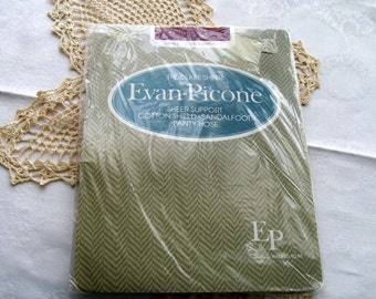 Vintage Evan-Picone- 1980s Pantyhose  -  Sheer Support - Sandal Foot - Size Small