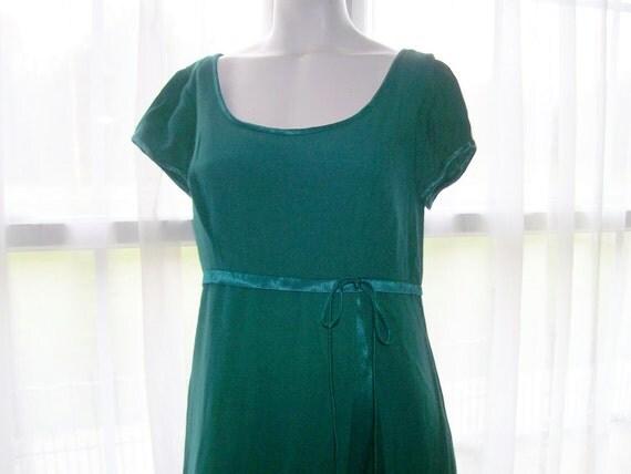 1970s Jordan Dress - Vintage - Teal Formal - Short Sleeves - Empire Waist