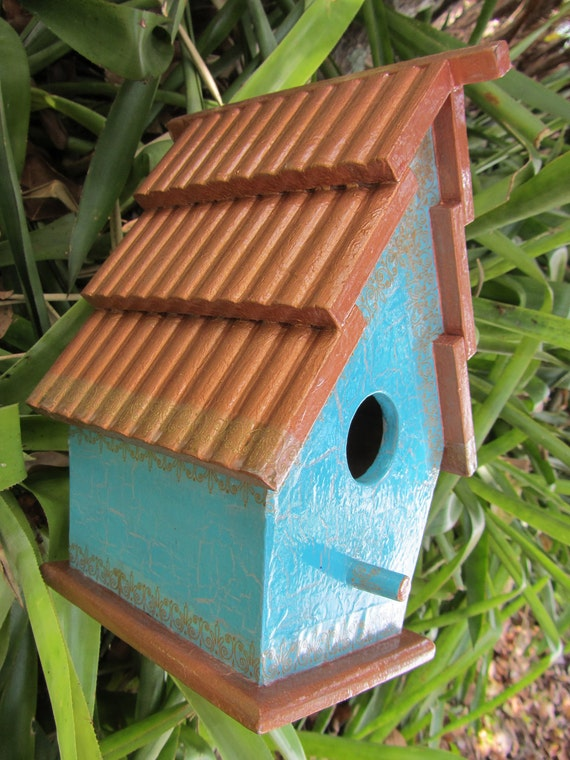 Copper and Teal - Gilded Birdhouse