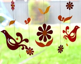 Friendship Paper Mobile -Birds and Flowers- for children, boy, girl, kids room decor - red & orange - gift - home - toy -baby