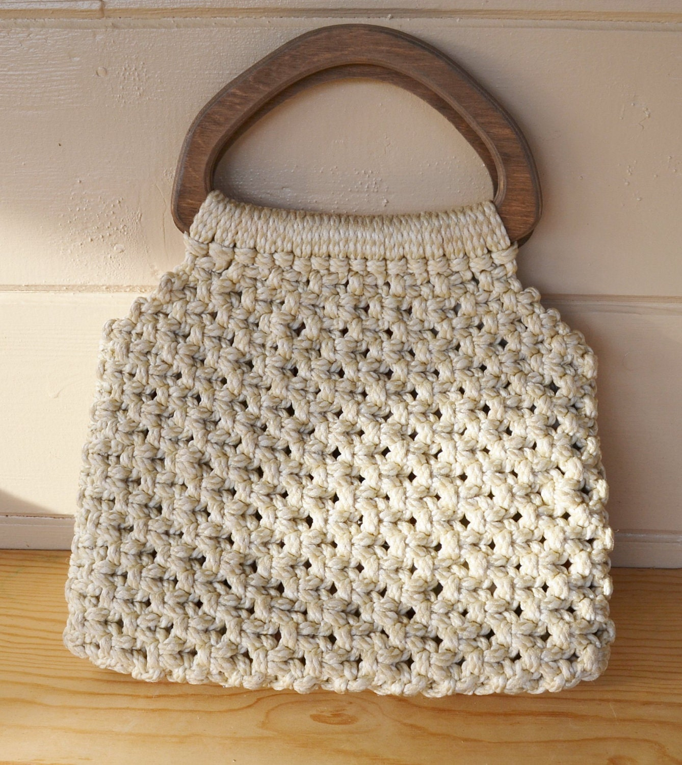 macrame bags purse vintage macrame purse with large wooden handles 7876