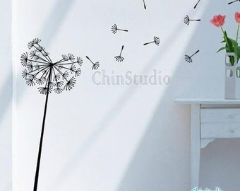 Dandelion Blowing in the wind Vinyl Wall Decals Home Decor