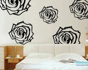 Blooming Rose-set of 6-Floral Decal Nursery Wall stickers Vinyl Wall Decal