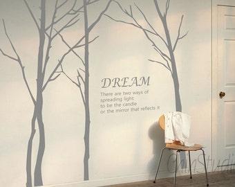 Tree Vinyl Wall Decals wall sticker kids wall decal nursery vinyl decals-Bare Tree wall decals-Set of 4