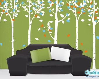 Tree Vinyl wall decals tree decals wall stickers nursery wall decals- Leafy Birch Trees forest-set of 6