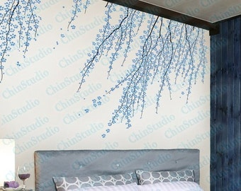 Tree vinyl wall decals wall stickers nursery vinyl decals -Cherry blossom tree wall arts for living room