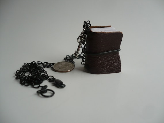 Key to My Thoughts Itty Bitty Chocolate Brown Leather Journal Pendant