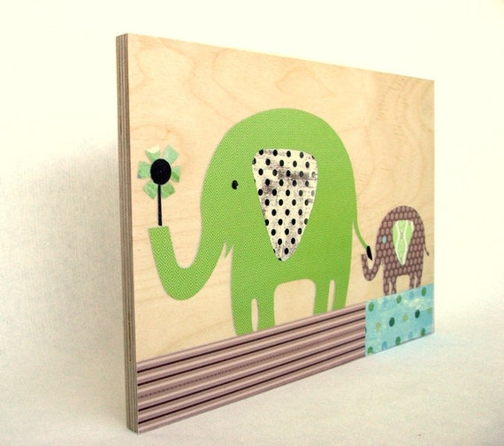 Eco friendly green brown elephants collage on wood, Wall Art,Nursery Art,Kids room art,kids wall art,baby nursery