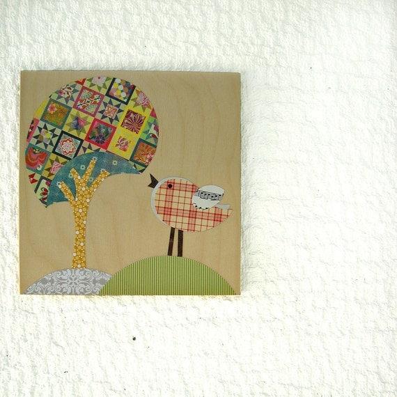 Patchwork tree & bird decor eco friendly collage on wood, Nursery Art,Kids room art,kids wall art,baby girl nursery
