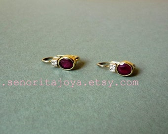Genuine Red Ruby Yellow Gold Jewelry, Small Earrings, Deep Red Stone, Gift for Her, Fine Jewelry