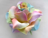 4 Light Rainbow Roses Artificial Silk Flower Heads - 3.75 inches - Wholesale Lot - for Wedding Work, Make Hair clips, headbands, hats