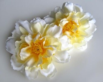 4 White Yellow silk Peony heads - Artificial Flower - 4 inches - Wholesale Lot - for Wedding Work, Make Hair clips, headbands, hats