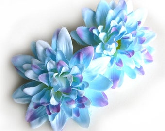 4 Blue silk Dahlia heads - Artificial Flower - 4 inches - Wholesale Lot - for Wedding Work, Make Hair clips, headbands, hats