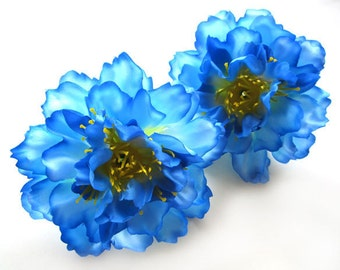 4 blue silk Peony heads - Artificial Flower - 4 inches - Wholesale Lot - for Wedding Work, Make Hair clips, headbands, hats