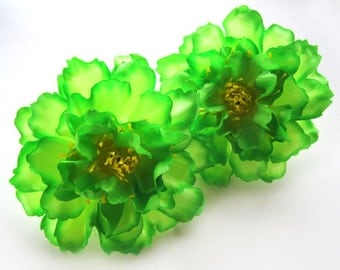 4 Green silk Peony heads - Artificial Flower - 4 inches - Wholesale Lot - for Wedding Work, Make Hair clips, headbands, hats