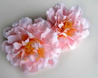 4 Light Pink silk Peony heads - Artificial Flower - 4 inches - Wholesale Lot - for Wedding Work, Make Hair clips, headbands, hats