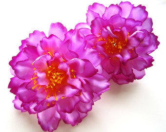 4 Violet silk Peony heads - Artificial Flower - 4 inches - Wholesale Lot - for Wedding Work, Make Hair clips, headbands, hats