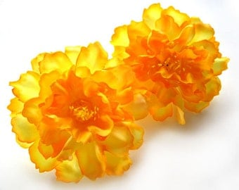 4 Yellow silk Peony heads - Artificial Flower - 4 inches - Wholesale Lot - for Wedding Work, Make Hair clips, headbands, hats