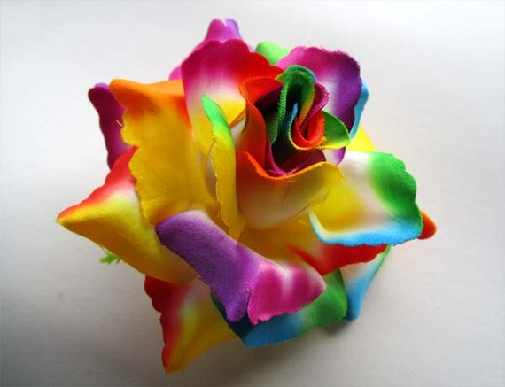 4 rainbow roses artificial silk flower heads by fayflowershop for How to make multi colored flowers