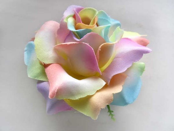 4 light rainbow roses artificial silk flower by fayflowershop