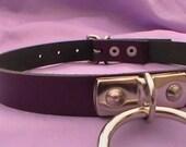 purple real leather fetish bondage slave collar with large o ring black 15-18 inch