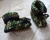 Baby boy crochet camouflage booties handmade with adjustable crochet ties, camo baby clothes