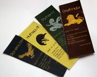 Wizarding School Double-Sided Magical House Bookmarks- Set of 4
