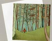Promenade - Square illustrated postcard (and envelope)