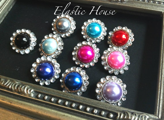 10 pcs Rhinestone Pearl Buttons - Size 23 mm - Assorted Color - DIY Hair Bow/Headband/Hair Clips Supplies