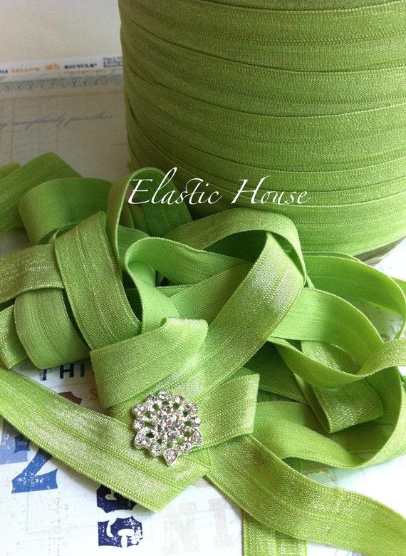 10 Yards 5/8 Fold Over Elastic - Lime Color - Headband- DIY Headband/Hair Bow  Supplies