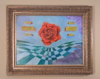 Original Fine Art Painting Surrealist Syncopated Rose