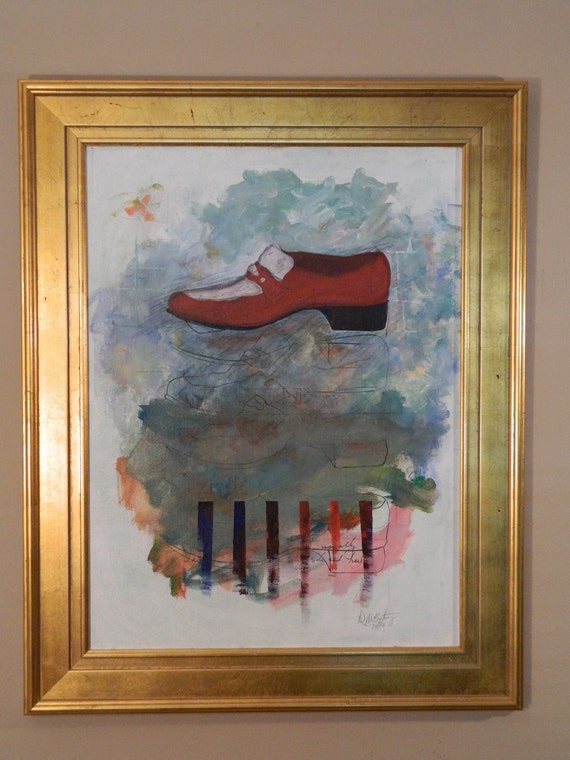 Original Fine Art Modern Painting with Shoe
