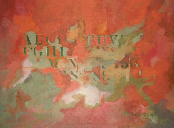 Original Fine Art Abstract Expressionist Painting with Alphabet Stencil