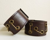 "Set of Matching Dark Brown Upcycled Vegan ""Leather"" Cuff Bracelets"