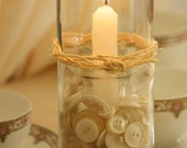 Recycled Bottle Candle Holder With Ivory Buttons And Jute Twine Trim