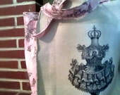 SALE--10.00 OFF Large Pink Ballerina Tote Bag Handmade
