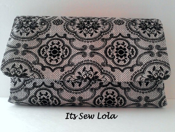 Medium Lace Clutch Purse - Black and White - Cotton - Handmade - Hot Pink Lining