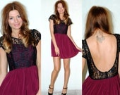 Burgundy and black lace detail scoop back dress. HerPony Custom Made.