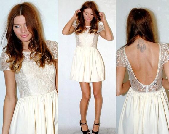Beautiful lace detail, low back dress. HerPony Custom Made.