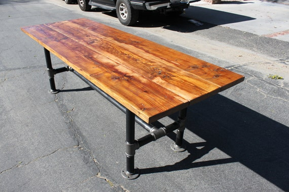 Rustic Reclaimed Wood Table With Industrial Pipe Legs