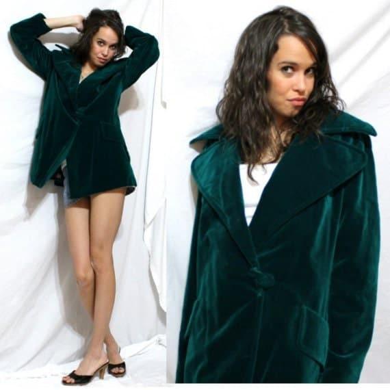 Vintage Jacket boyfriend surrey classic canada womens VELVET green mod M L 60's