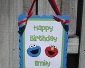 Sesame Street Birthday Sign-Elmo, Cookie Monster-Happy Birthday Door Sign