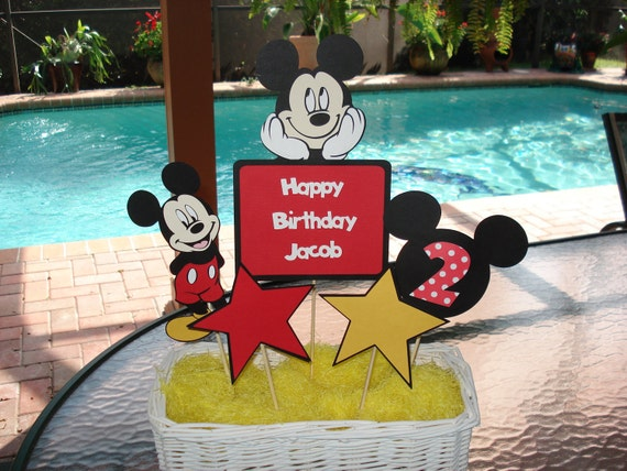 Mickey Birthday Centerpiece- Set of 5 Picks- Red and Yellow- Happy Birthday Centerpiece- Mickey Mouse Centerpiece