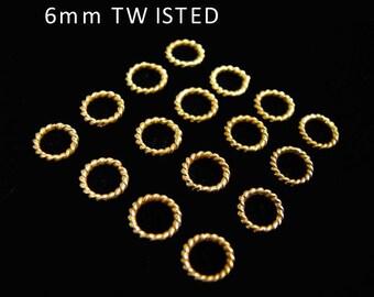 SALE Gold Vermeil Jump Rings 10 pcs 6mm Elegant Twisted R4T6